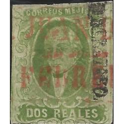 J) 1856 MEXICO, HIDALGO, 2 REALES DARK GREEN, QUERETARO DISTRICT, SAN JUAN DEL RIO RED CANCELLATION, MN