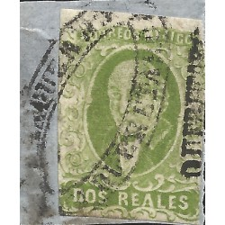 J) 1856 MEXICO, HIDALGO, FRAGMENT OF THE LETTER, 2 REALES GREEN, BIG DISTRICT NAME QUERETARO