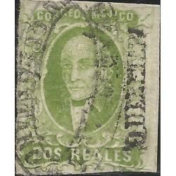 J) 1856 MEXICO, HIDALGO, 2 REALES GREEN, QUERETARO DISTRICT, OVAL CANCELLATION, MN