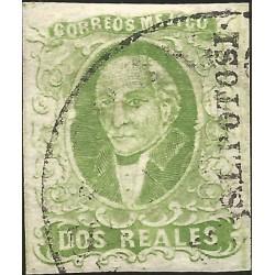 J) 1856 MEXICO, HIDALGO, 2 REALES GREEN, SAN LUIS POTOSI DISTRICT, CIRCULAR CANCELLATION, MN