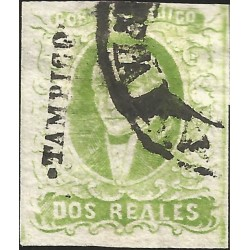 J) 1856 MEXICO, HIDALGO, 2 REALES GREEN, TAMPICO DISTRICT, CIRCULAR CANCELLATION, MN