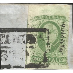 J) 1856 MEXICO, HIDALGO, FRAGMENT OF THE LETTER, 2 REALES ESMERALD, JUMBO MARGIND, FRAGMENT OF THE LETTER