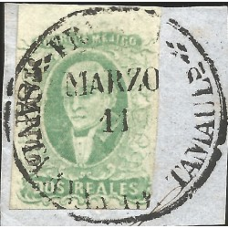 J) 1856 MEXICO, HIDALGO, FRAGMENT OF THE LETTER, 2 REALES ESMERALD, TAMPICO ON PIECE