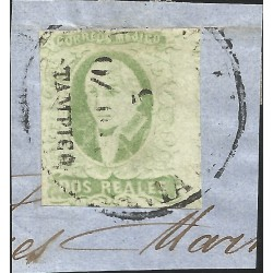 J) 1856 MEXICO, HIDALGO, FRAGMENT OF THE LETTER, DISTRICT TAMPICO, RIGHT JUMBO MARGINS, MN