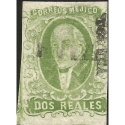 J) 1856 MEXICO, HIDALGO, 2 REALES TELLOW GREEN, TOLUCA DISTRICT, PLATE III, MN