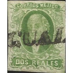 J) 1856 MEXICO, HIDALGO, 2 REALES GREEN, TIXTLA GUERRERO LINEAL CANCELLATION, YGUALA, MN