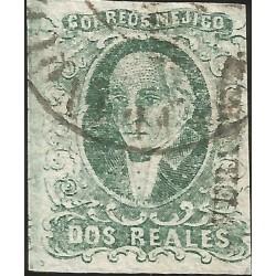 J) 1856 MEXICO, HIDALGO, 2 REALES BLUE GREEN, VERACRUZ DISTRICT, PLATE II, CIRCULAR CANCELLATION, MN
