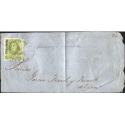 J) 1856 MEXICO, FRONT OF LETTER, HIDALGO, 2 REALES YELLOW GREEN, VERACRUZ DISTRICT, PLATE II, XF