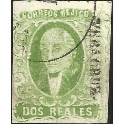 J) 1856 MEXICO, HIDALGO, 2 REALES GREEN, VERACRUZ DISTRICT, CIRCULAR CANCELLATION, MN