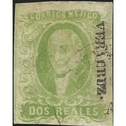 J) 1856 MEXICO, HIDALGO, 2 REALES YELLOW GREEN, VERACRUZ DISTRICT, PLATE II, MN
