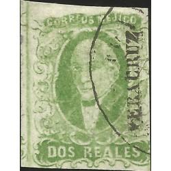 J) 1856 MEXICO, HIDALGO, 2 REALES GREEN, LEFT MARGIN VERACRUZ DISTRICT, PLATE II, MN