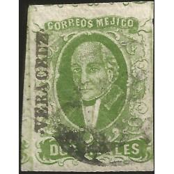 J) 1856 MEXICO, HIDALGO, 2 REALES DARK GREEN, VERACRUZ DISTRICT, AUTLAN, MN