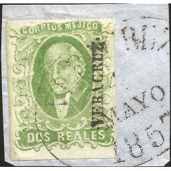 J) 1856 MEXICO, HIDALGO, 2 REALES GREEN APPLE, FRAGMENT OF LETTER, CIRCULAR CANCELLATION, MN