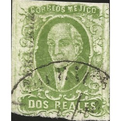 J) 1856 MEXICO, HIDALGO, 2 REALES GREEN, VERACRUZ DISTRICT, PLATE II, CIRCULAR CANCELLATION, MN