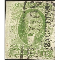 J) 1856 MEXICO, HIDALGO, 2 REALES GREEN, THICK PAPER, ZACATECAS DISTRICT, BLACK CANCELLATION, MN