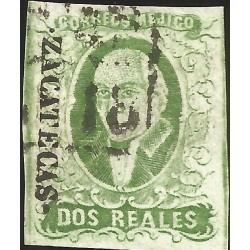J) 1856 MEXICO, HIDALGO, 2 REALES GREEN, ZACATECAS DISTRICT, PLATE II, BLACK BOX CANCELLATION, MN