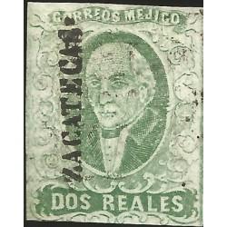 J) 1856 MEXICO, HIDALGO, 2 REALES DARK GREEN, ZACATECAS DISTRICT, PERFECT MARGINS, MN