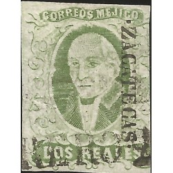J) 1856 MEXICO, HIDALGO, 2 REALES, GREEN APPLE, ZACATECAS DISTRICT, LINEAL CANCELLATION, MN