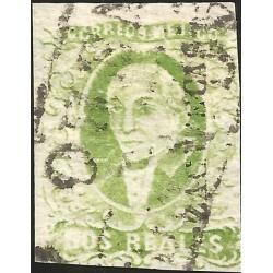 J) 1856 MEXICO, HIDALGO, 2 REALES, YELLOW GREEN, ZACATECAS DISTRICT, BLACK BOX CANCELLATION, MN