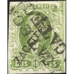 J) 1856 MEXICO, HIDALGO, 2 REALES GREEN, ZACATECAS DISTRICT, PLATE II, ZACATECAS LINEAL CANCELLATION, MN