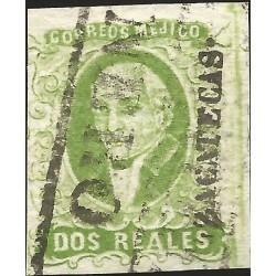 J) 1856 MEXICO, HIDALGO, 2 REALES GREEN, PLATE II, ZACATECAS DISTRICT, BLACK BOX CANCELLATION, MN