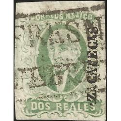 J) 1856 MEXICO, HIDALGO, 2 REALES DARK GREEN, ZACATECAS DISTRICT, PLATE II, FRESNILLO, BLACK BOX CANCELLATION, MN