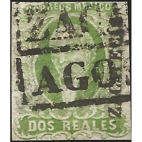 J) 1856 MEXICO, HIDALGO, 2 REALES GREEN, PLATE III, ZACATECAS DISTRICT, BLACK BOX CANCELLATION, MN