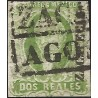 J) 1856 MEXICO, HIDALGO, 2 REALES GREEN, PLATE III, ZACATECAS DISTRICT, BLACK BOX CANCELLATION, MN