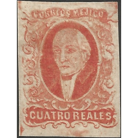 J) 1856 MEXICO, HIDALGO, 4 REALES RED, GOOD MARGINS, NO DISTRICT NAME, NO CANCELLATION, MN