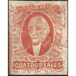 J) 1856 MEXICO, HIDALGO, 4 REALES RED, FRESH COLOR, GOOD MARGINS, NO DISTRICT NAME, NO CANCELLATION, MN