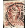 J) 1856 MEXICO, HIDALGO, 4 REALES RED, PLATE II, MEXICO DISTRICT, CIRCULAR CANCELLATION, MN