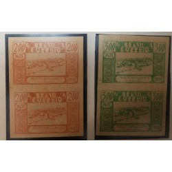 O) 1939 BRAZIL, PROOF IMPERFORATE, VIEW OF CAMETA -FOUNDING FROM 1635 -SCT 419 200r -SCT 420 300x. XF