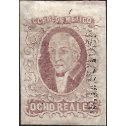 J) 1856 MEXICO, HIDALGO, 8 REALES PURPLE, SAN LUIS POTOSI DISTRICT, JUMBO MARGINS, NO CANCELLATION, MN