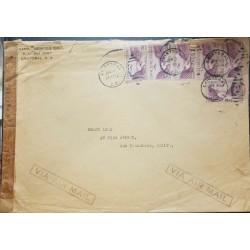 O) 1931 CIRCA - CANAL ZONE, GAILLARD CUT SC C11 20c red violet. FROM CRISTOBAL TO USA, VIA AIRMAIL, CENSORSHIP, XF