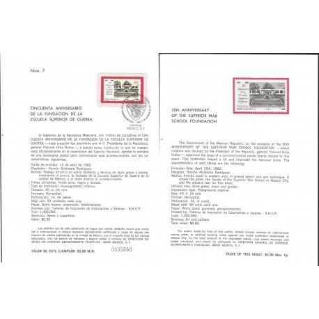 V) 1982 MEXICO, 50th ANNYVERSARY OF THE SUPERIOR WAR SCHOOL FOUNDATION, FDB