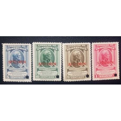 O) 1950 VENEZUELA, SPECIMEN, GENERAL FRANCISCO MIRANDA - PRECURSOR OF AMERICAN INDEPENDENCE, SC 434 -437, MNH