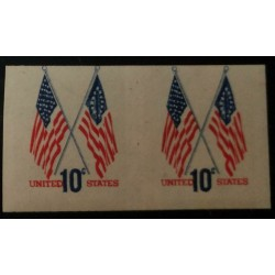 O) 1973 UNITED STATES - IMPERFORATE, USA, FLAG -50 STAR AND 13 STAR -SCT 1509 10c, MNH
