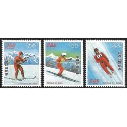 V) 1976 REPUBLIC OF CHINA, 12TH OLYMPIC GAME INNSBRUCK, AUSTRIA, SET OF 3, MNH