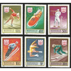 V) 1975 MONGOLIA, 12TH WINTER OLYMPIC GAME INNSBRUCK, AUSTRIA, SET OF 6, MNH