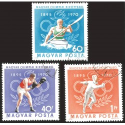 V) 1970 HUNGARY, 75TH ANNIV. OF THE HUNGARIAN OLYMPIC COMMITTEE, SET OF 3, MNH