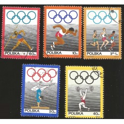 V) 1969 POLAND, 50TH ANNIV. OF THE POLISH OLYMPIC COMMITTEE, SET OF 5, MNH