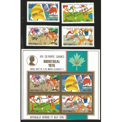 V) 1976 AITUTAKI, WITH OVERPRINT, 21ST OLYMPIC GAMES, MONTREAL, CANADA, MNH