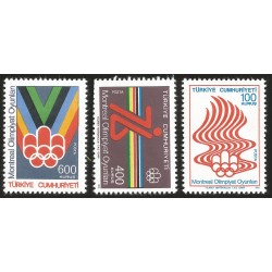 V) 1976 TURKEY, OLYMPIC GAMES MONTREAL, SET OF 3, MNH