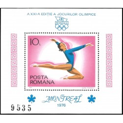 V) 1976 ROMANIA, 21ST OLYMPIC GAME, MONTREAL CANADA, GYMNAST, SOUVENIR SHEET, MNH