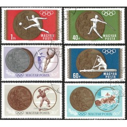 V) 1965 HUNGARY, VICTORIES, HUNGARIAN TEAM OLYMPIC GAMES, TOKYO, SET OF 6, USED
