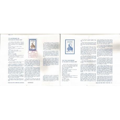 V) 1986 MEXICO, THE 175th ANNIVERSARY OF THE BIRTH OF FRANZ LISZT, FDB