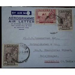 O) 1957 CIRCA - MALAYA - PERAK - SULTAN YUSSUF IZZUDDIN SHAH - ALWI MOSQUE -ARCHITECTURE, TIGER, AEROGRAME -AIR LETTER