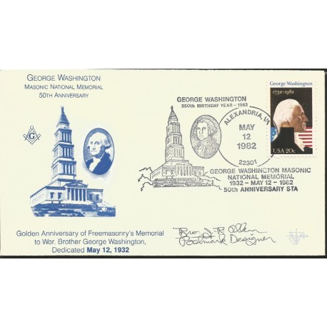 J) 1982 UNITED STATES, MASONIC GRAND LODGE, GEORGE WASHINGTTON, MASONIC  NATIONAL MEMORIAL - Castlerockstamps