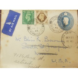 O) 1945 GREAT BRITAIN, KING GEORGE VI SC 235 12p, KING GEORGE VI SC 248 1sh, POSTAL STATIONERY 2 1/2p, FRESWATER I.O.W. TO USA