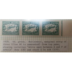 O) 1929 SOUTH AFRICA, BIPLANE IN FLIGHT SC C5 4p - LUGPOS, MARGINAL STRIP OF THREE- FINE OG, FROM TO PANE -SHOWING VARIETIES